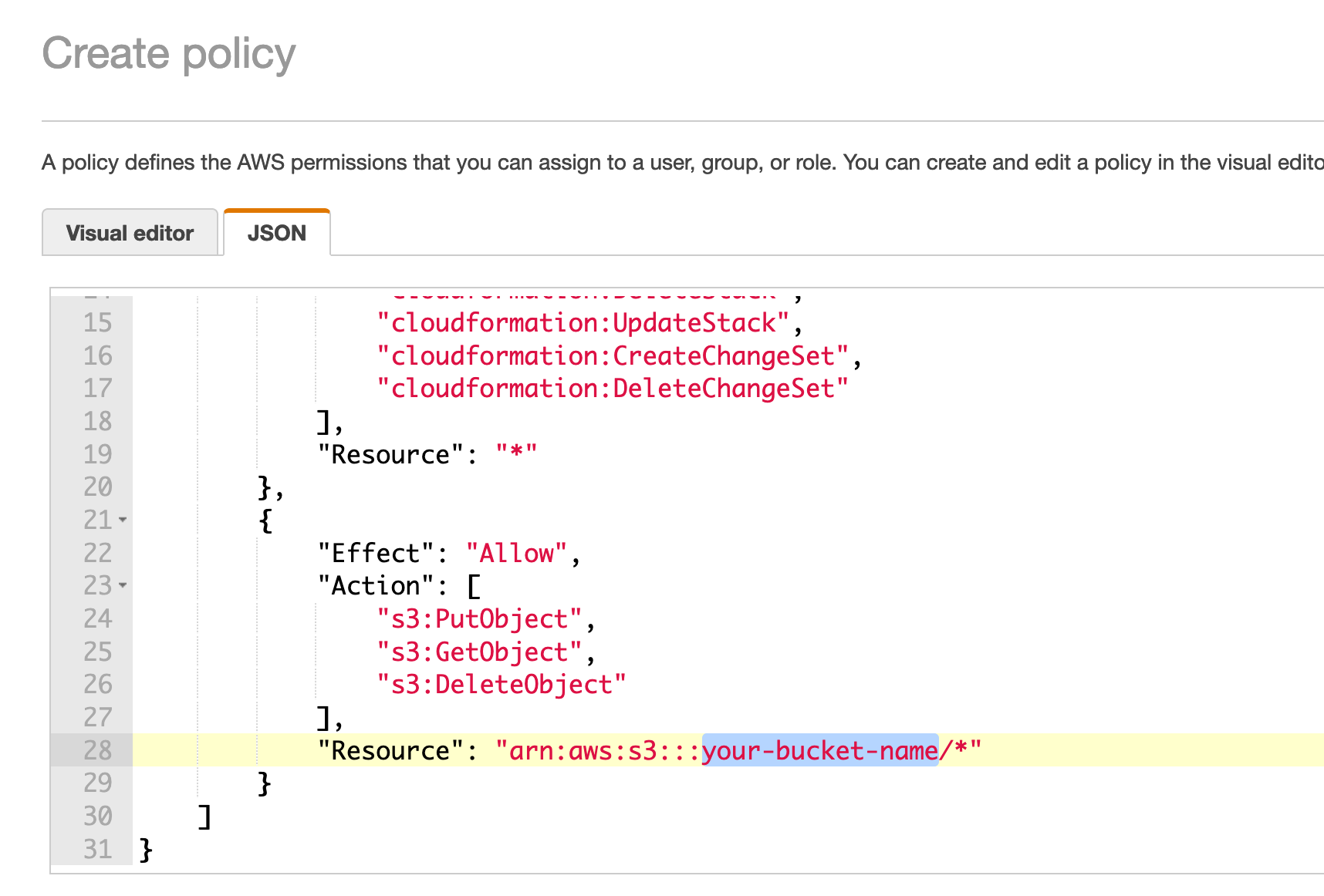 Adding JSON policy template